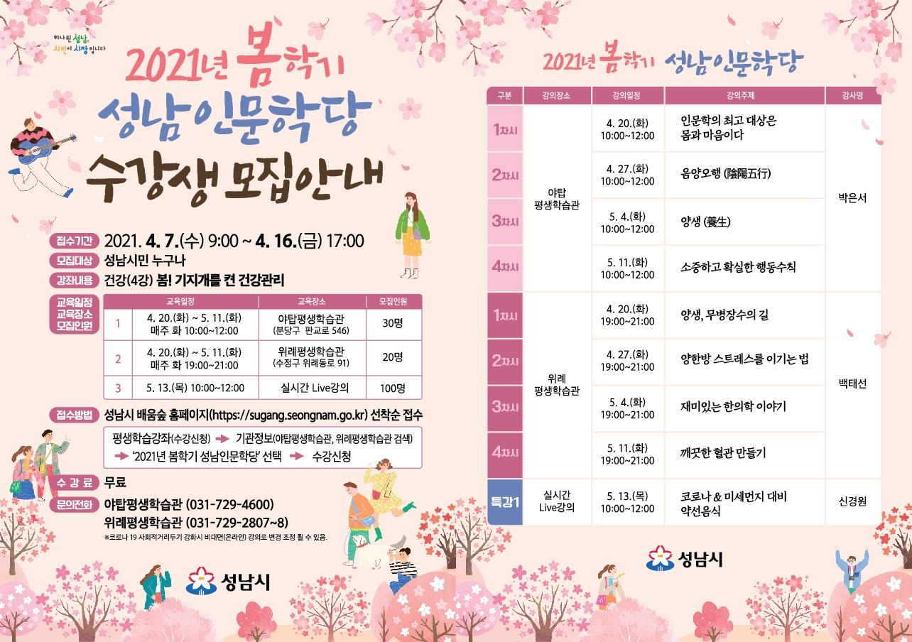 봄학기 성남인문학당 운영
